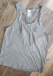 Pink lace back gray tank top